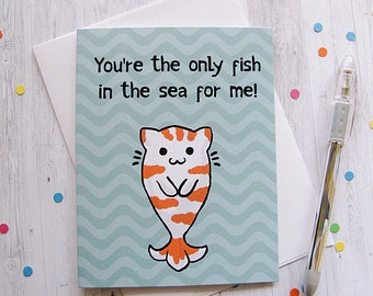 Cat Fish Greeting Card, Silly Card, Love Card, Valentine Card, Romantic Card, Funny Greeting Card, Cute Note, Kitty Koi, Girlfriend Gift