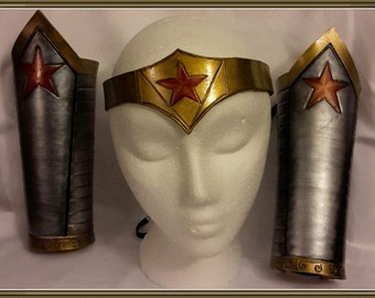 Wonder Women  leather head band and bracers