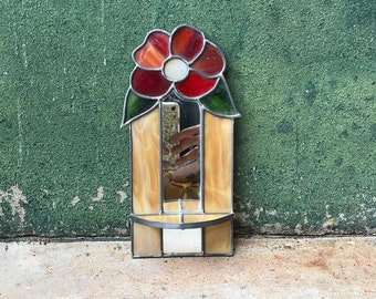 Vintage Mirrored Floral Stained Glass Shelf   Candleholder