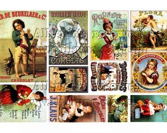 VINTAGE ADV 2 - Printable 11 different size images Download Digital Collage Sheet Vintage Ephemera Paper Craft Scrapbook