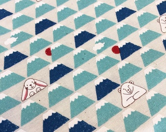 Rabbit Bear Mountain in teal and blue Japanese quilt cotton fabric