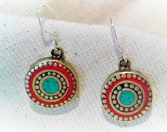 Ethnic Smart  Earrings Turquoise Coral