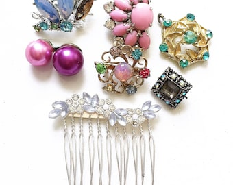 craft lot destash of broken metal and rhinestone jewelry components//pink blue purple--mixed lot of 7 items