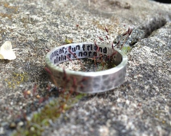 LIMITED TIME SALE Custom Hand Stamped Ring - Solid Hand-Forged Sterling Silver - Customizable - Your Message - Inside and/or Outside - Choic