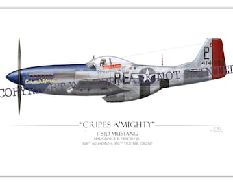 "P-51 Mustang - ""Cripes A' Mighty"" George Preddy WW2 Aviation Warbird Art Print"
