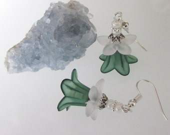 Green Flower Earrings, Forest Green Lily, Lucite Flowers, Saint Patrick's Day, Green and White Dangle Earrings, Woodland Flower Earrings