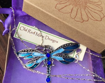 Dragonfly Necklace Blue Dragonfly Pendant Necklace ,Big Bold Colorful Zen Bohemian Jewelry Free Gift Wrapping,Dragonflies,Dragonfly love
