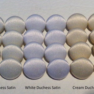 Satin Buttons Covered Bridal Buttons White Ivory & Cream Wedding Dress 9mm-14mm