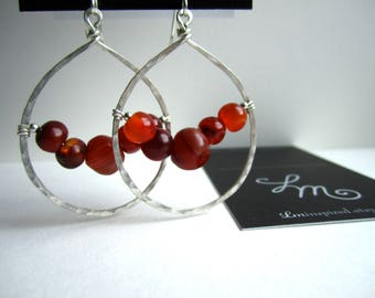 Red Carnelian Agate Encapsulated Teardrop Hammered Sterling Silver Earrings by LM-inspired