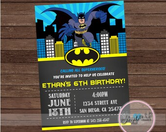 Batman Party Invitation, Batman Birthday Invitation, Batman Birthday Party Invitation, Batman Chalkboard Invitation, Digital File.