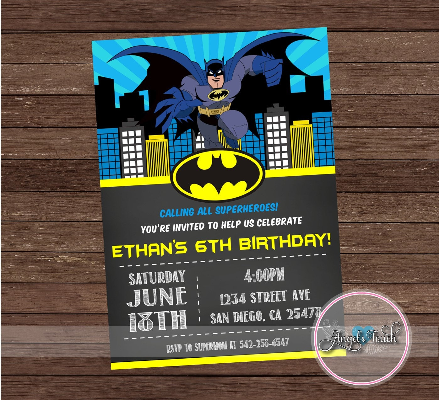 Batman party invitation batman birthday invitation batman zoom filmwisefo Choice Image