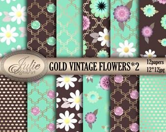Gold Flower digital paper, floral brown and mint backgrounds, vintage botanical hand drawn pattern for digital scrapbook