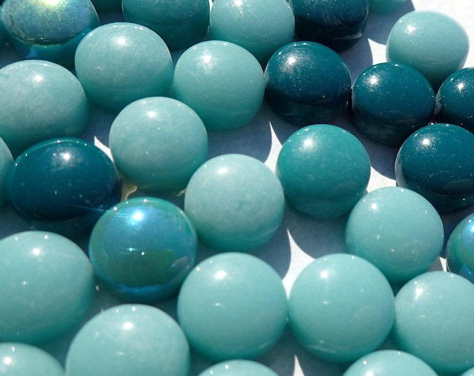 Teal Mint Mix Glass Drops Mosaic Tiles - 100 grams Vase Fillers Home Decor - Flat Marbles Mix of Gloss and Iridescent Glass Gems