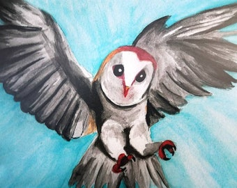 "Art print of my owl illustration, ""Tailwind."""