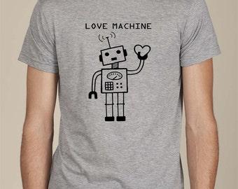 LOVE MACHINE robot t-shirt mens tee heart cute retro valentine boyfriend