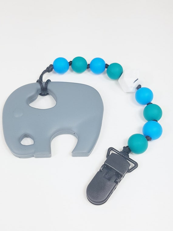 Silicone elephant teething clip, Teething Baby, Baby Shower, baby gift, teething clip, soother clip, teething, silicone clip