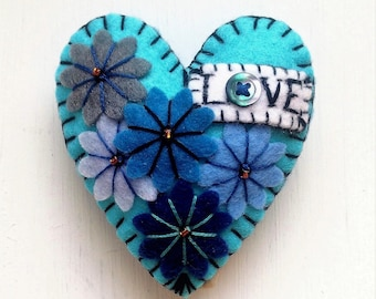 Turquoise or Hot Red LOVE Heart Shape Handmade Felt Brooch For Your Loved One - Made to order