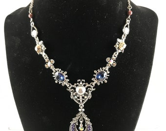 """Woman's Jewelry Handmade Necklace Round and Oval Stones Silver Size 8.5"""" Chain"""