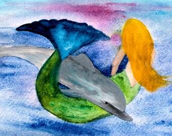 Playful dolphin & mermaid pillow case from my original art