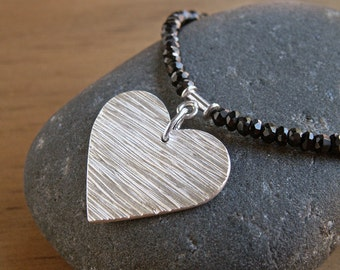 Heart Necklace Silver Heart Valentine Jewelry Woodgrain Textured Pendant Black Faceted Spinel Gemstone Sterling Silver Black Necklace