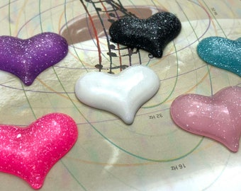 Glitter Hearts 3D Colors Resin Flatbacks 6 PC Scrapbooking HairBows Parties DIY Projects GH012118