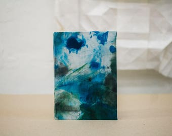 "Upcycled Hardcover Notebook ""Blue Splashes"" from printing ink cleaning rags"