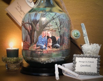 Messages In A Bottle Guestbook, Hand Painted Bottle With Your Photo, Unique Guestbook Alternative, Bridal Shower Well Wishes, Fall Wedding