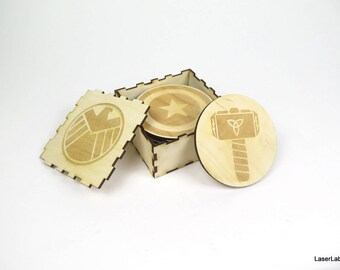 Avengers wooden coasters - set of 9 pieces - the main characters atributes