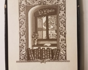 Vintage Antioch Publishing Co Classic Books in a Window Ex Libris Bookplates/28 Bookplates in Box/Gift