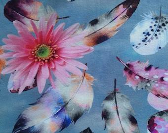 "Elast. Cotton jersey, digital print ""blossoms and feathers"", jeans colours, 150 cm wide, meter, EUR 11.00/QM"