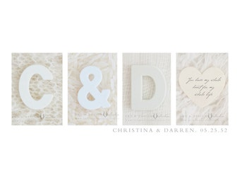 Personalized Wedding Guestbook Alternative Alphabet Photography Name Print (Unframed) Print or Canvas - White, Neutral, Modern Wall Art