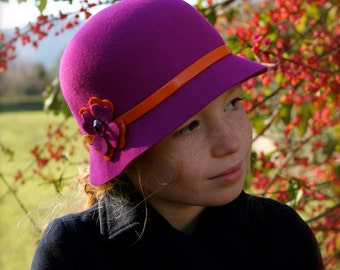 Girl's Cloche Hat Fuchsia Pink orange Band Custom Size Kid's Winter Hat With Flower Warm Felted Wool 1920's Style Flapper High Quality