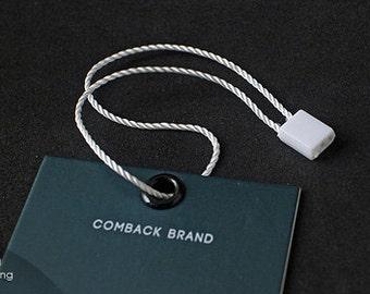 200pcs   White - HTS-P3 - Total Length 21cm - Plastic Seal Tag 【permanent lock】with Nylon String