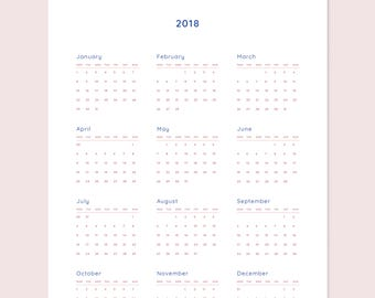 Wall Calendar 2018 | A4 and Letter | Printable Downloadable Single Page Full Year 12 Month Wall or Desk Calendar | Pink/Rose