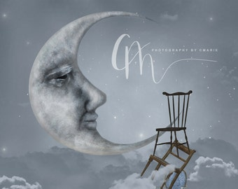 Chairway to the moon digital background