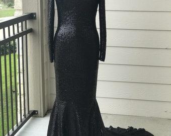 Black Sequin Evening Dress - Made-to-Measure- Custom Made-You Choose The Fabric
