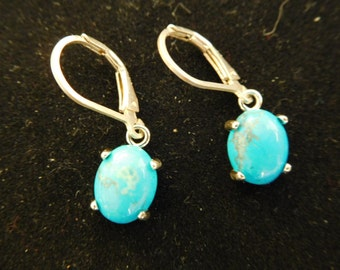 Turquoise and sterling drop earrings.