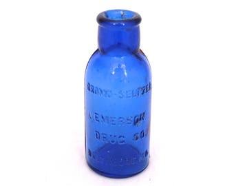 Vintage Bromo Seltzer Bottle, Emerson Drug Co. Baltimore, Apothecary Bottle, Old Blue Medicine Bottle, Chemist Bottle,Pharmacy Bottle