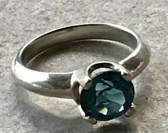 London Blue Topaz Ring, Sterling Silver Ring, 2.5 Carat Topaz Ring, Topaz Ring, Faceted Ring, Blue Stone Ring, Faceted Gemstone Ring, Size 7