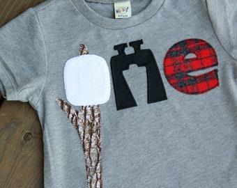 18 Months Camping First Birthday Shirt, Marshmallow First Birthday Shirt, Binocular, Adventure Birthday Shirt, Shirt, S'mores Birthday