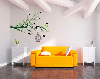 Bedroom big tree branch and birds cage art wall sticker for living room decoration.