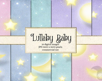 Lullaby Baby - Moon and Stars Digital Paper Pack - Pastel Celestial Night Sky Backgrounds for Baby Showers, Invitations, Commercial Use
