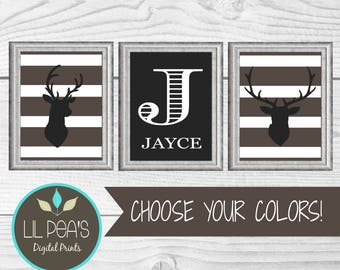 Deer Nursery Prints, Buck Nursery Decor, Outdoor Nursery Decor, Custom Printable Nursery Name Prints, Woodland Theme Digital Nursery Prints
