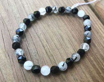Onyx and Rutilated Quartz Gemstone Bracelet
