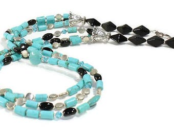 Necklace Turquoise Necklace  Black Onyx Necklace Beaded Necklace OOAK Design Necklace Handmade Jewelry