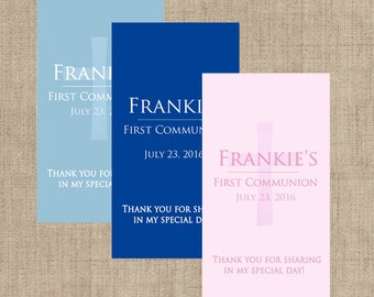 First Holy Communion, Miniature Stickers, Church Stickers, Communion Favors, Hershey Miniatures Labels, Blue, Pink (108 stickers per page)