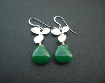 orchid flower cascading earring with emerald green smooth jade briolette