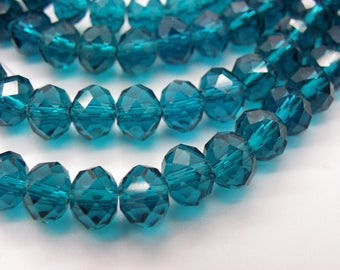 50 mmx6 8 mm Abacus has blue green faceted crystal glass beads