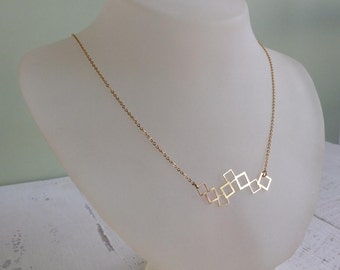 Geometric Squares Necklace, Gold Statement Jewelry, Geometric Gold Necklace, Cool Minimalistic Necklace, Gift Under 25, Silver Necklace