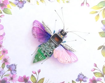 The Delectable Damson Orchard Beetle, Circuit Board Insect by Julie Alice Chappell